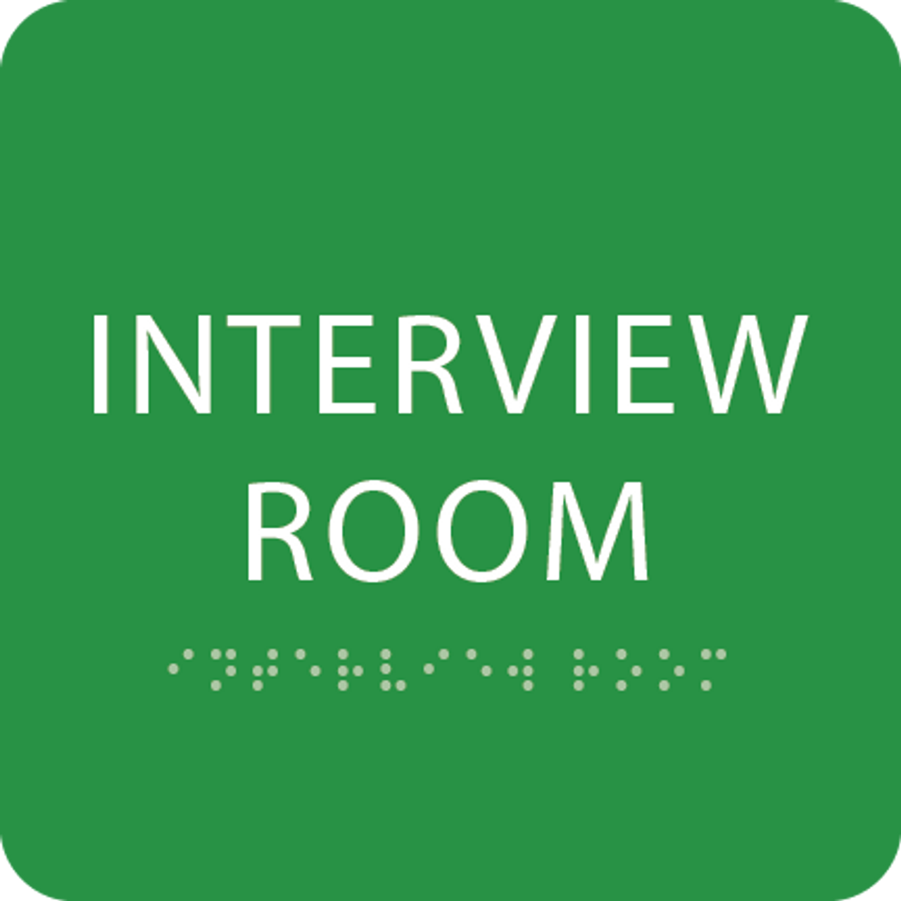 Green Interview Room Braille Sign