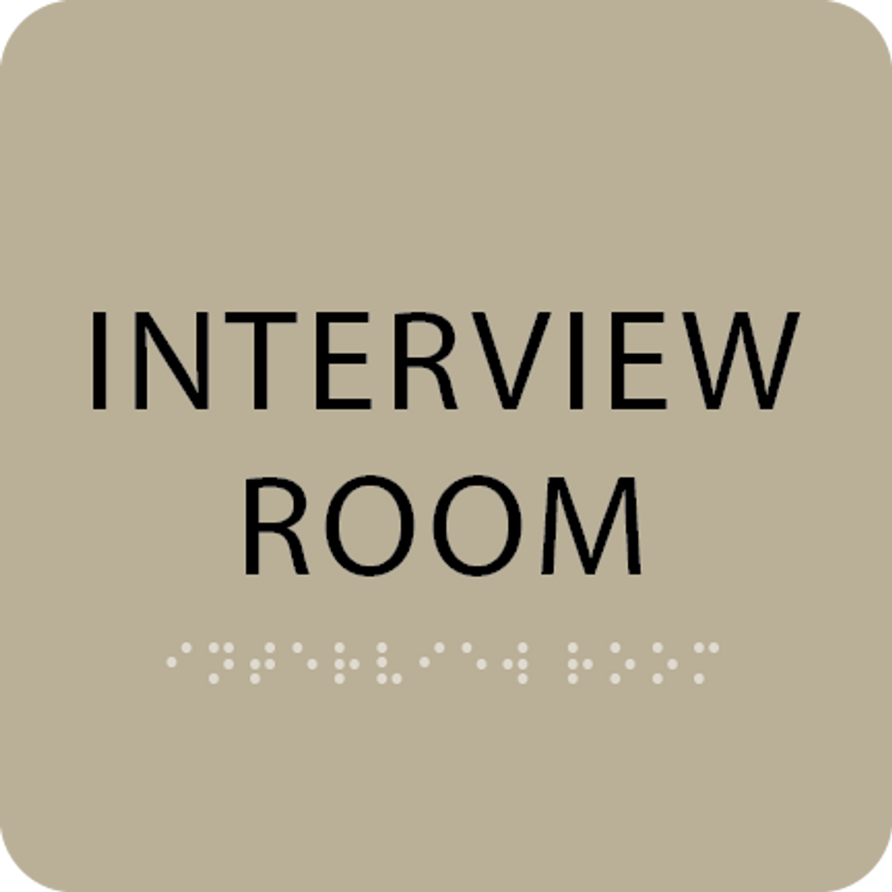Brown Interview Room Tactile Sign