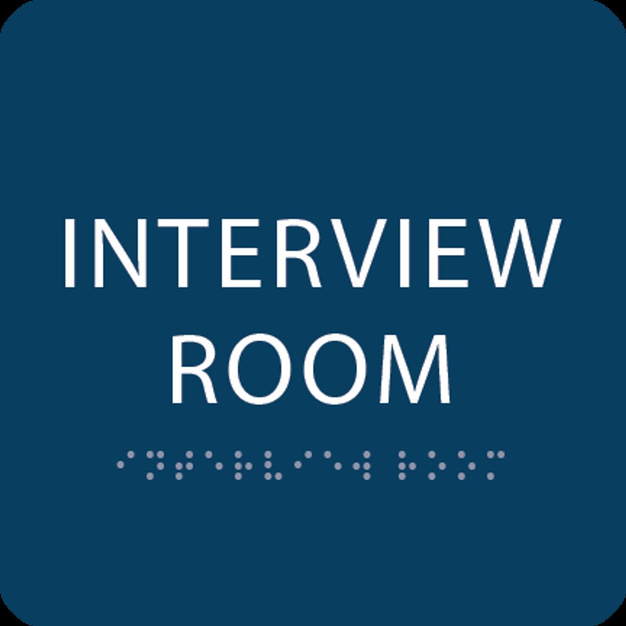Dark Blue Interview Room ADA Sign