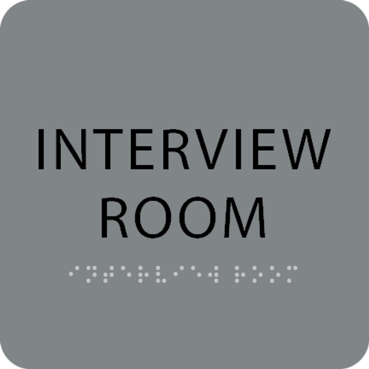 Grey Interview Room Tactile Sign