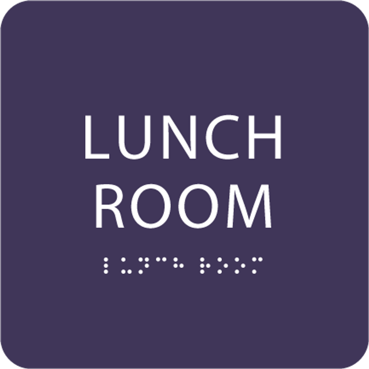 Purple Lunch Room ADA Sign
