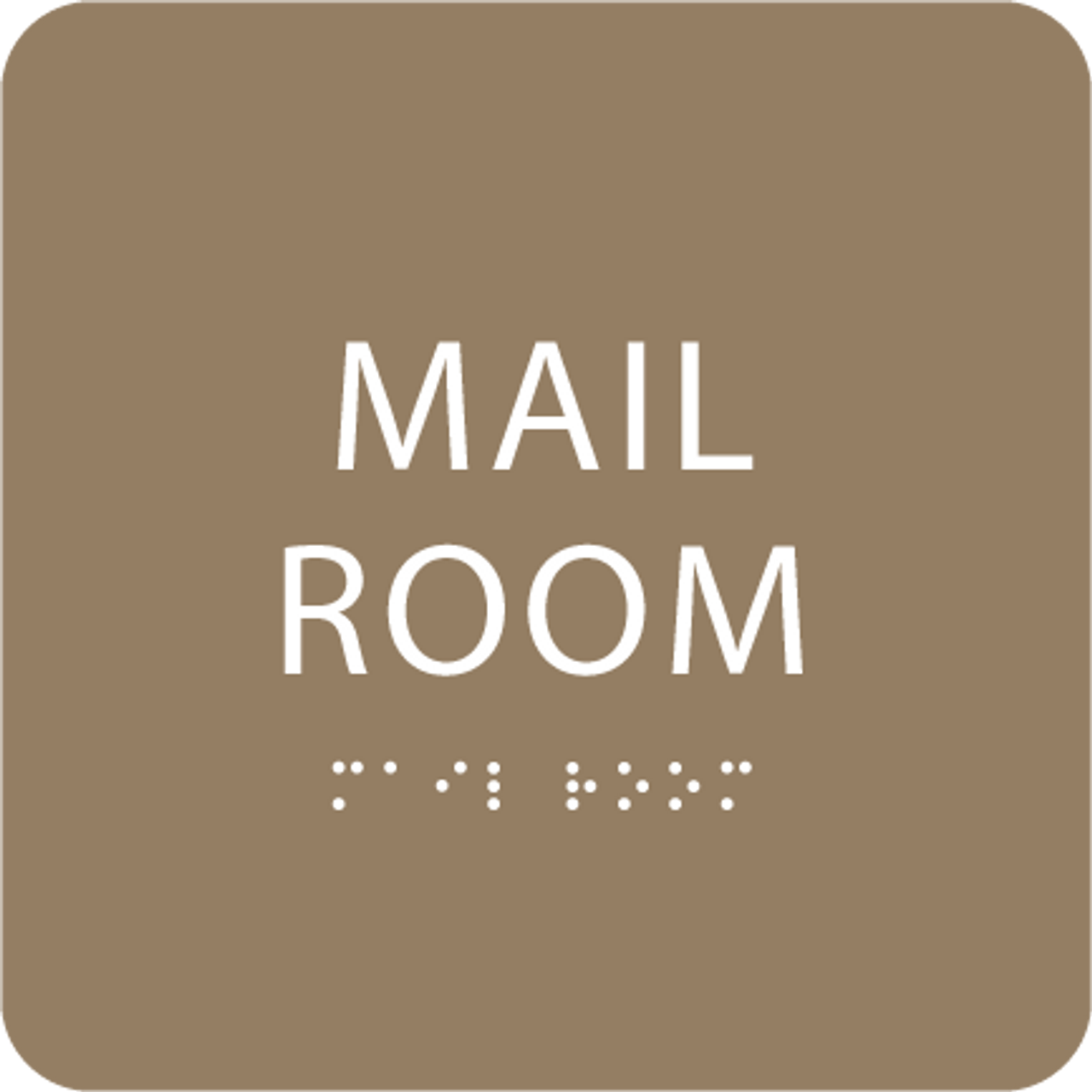 Brown Mail Room ADA Sign