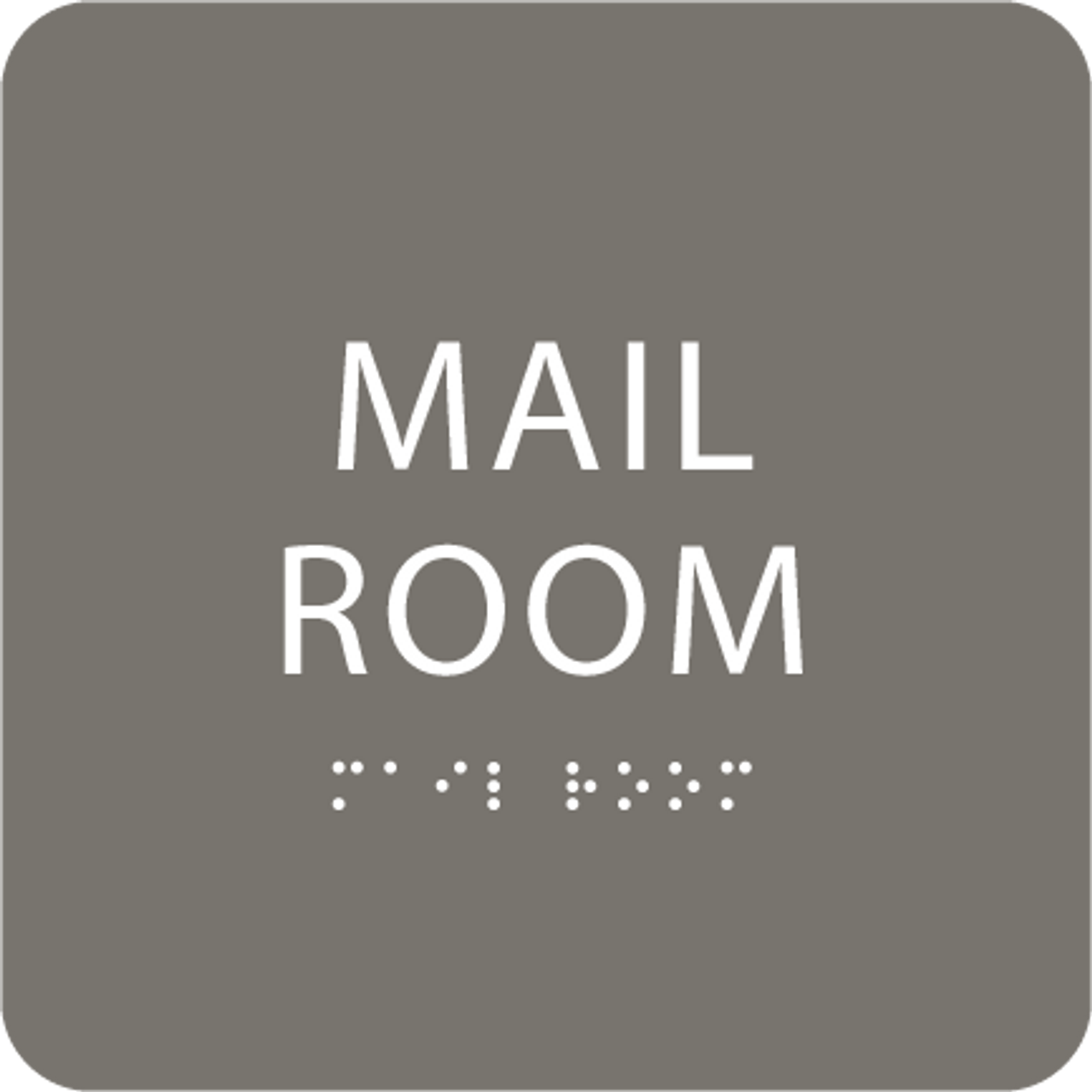 Dark Grey Mail Room ADA Sign