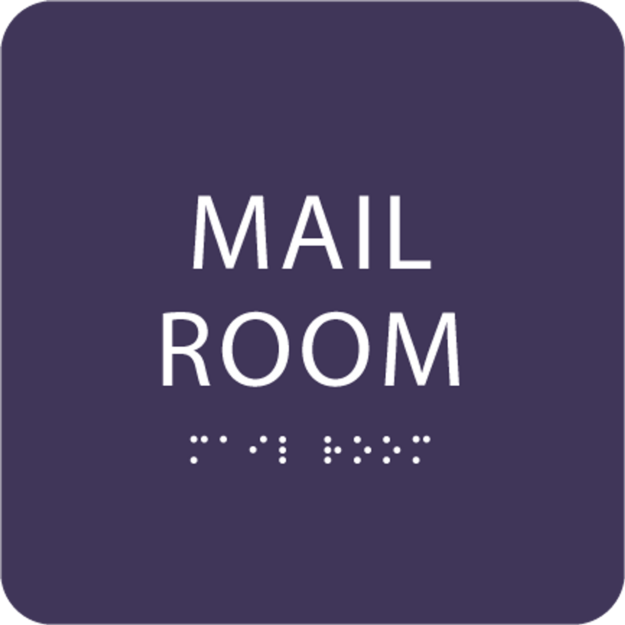 Purple Mail Room ADA Sign