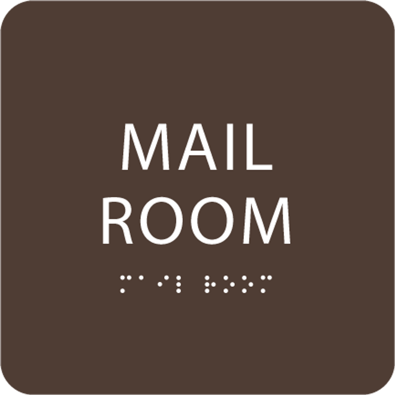Dark Brown Mail Room ADA Sign