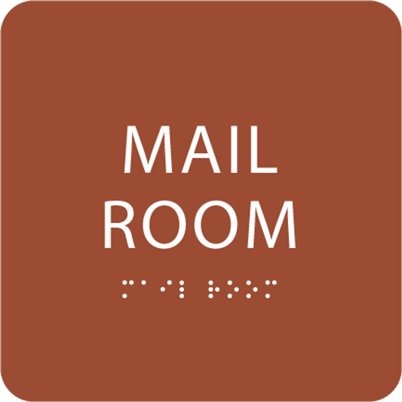 Orange Mail Room ADA Sign
