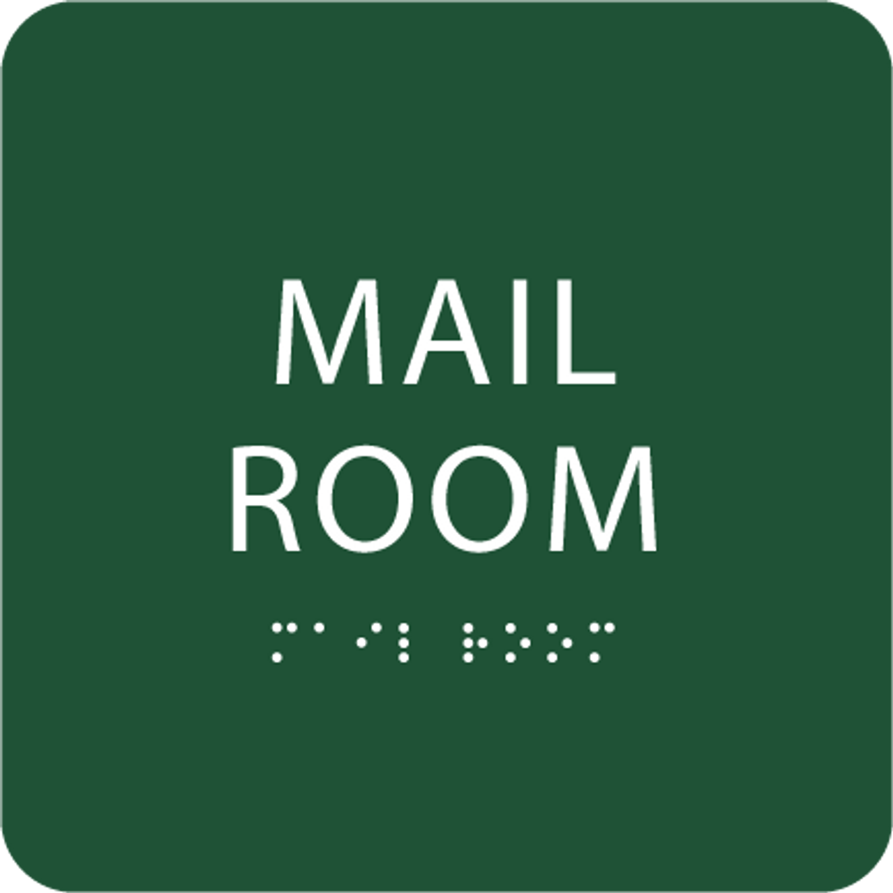 Green Mail Room Tactile Sign
