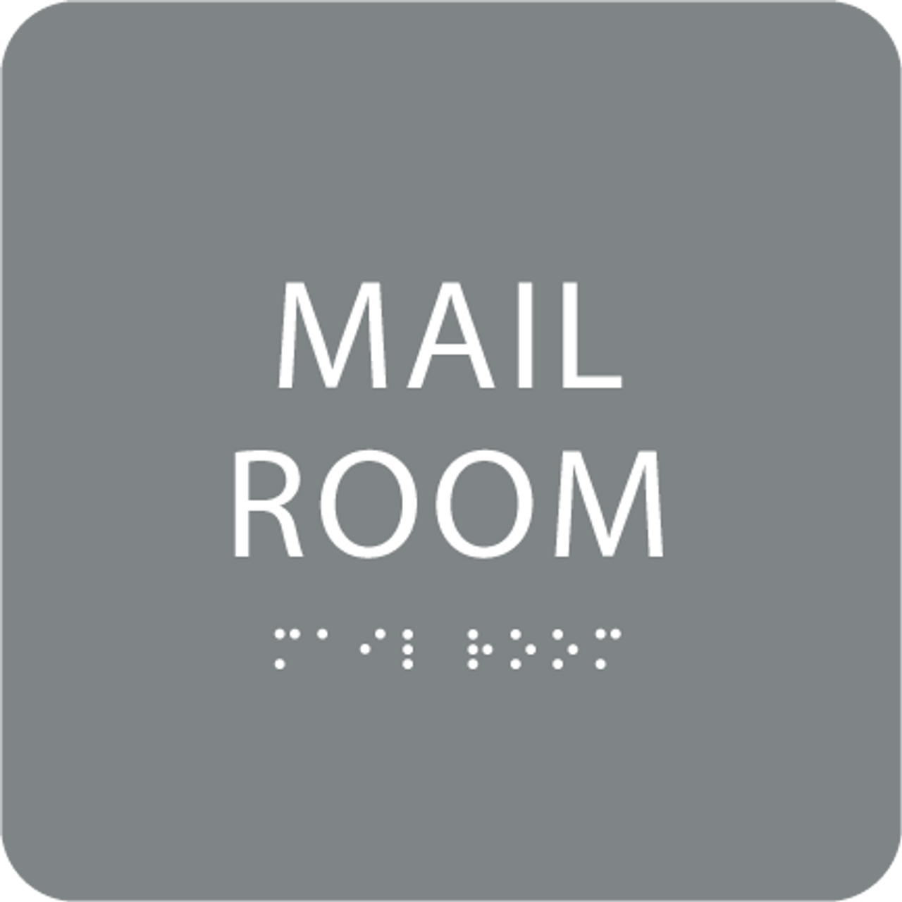 Grey Mail Room Tactile Sign