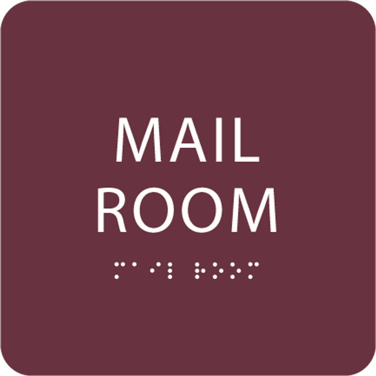 Burgundy Mail Room ADA Sign