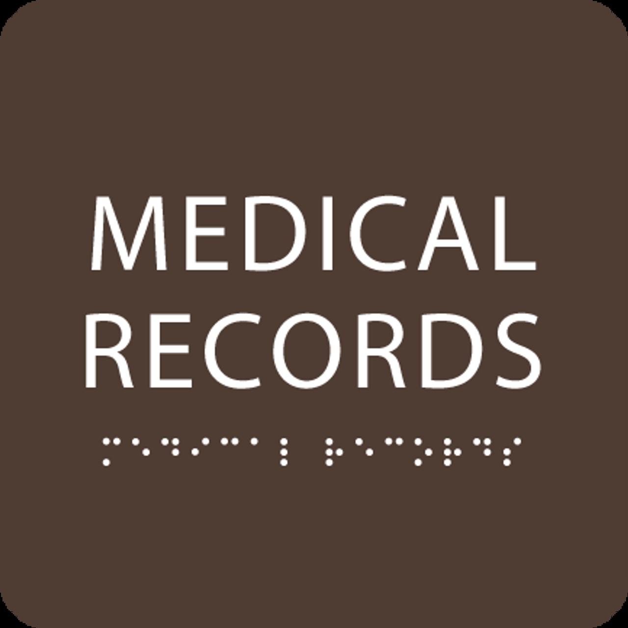 Dark Brown Medical Records ADA Sign