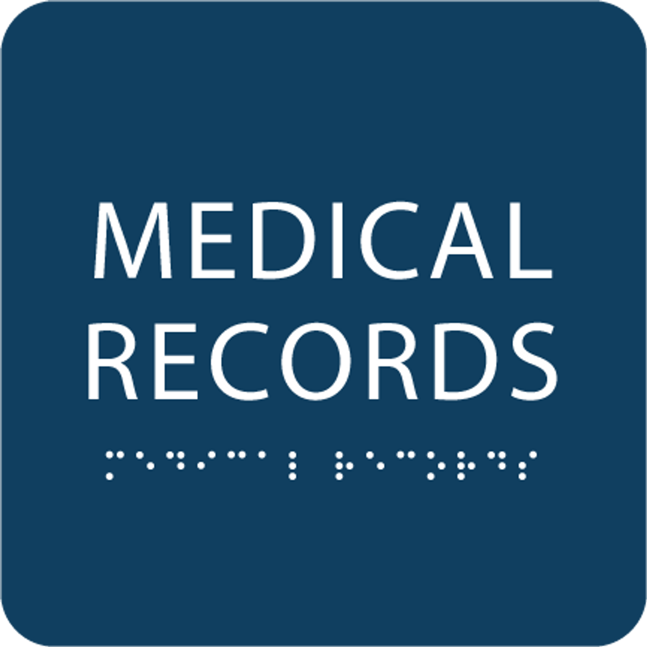 Dark Blue Medical Records ADA Sign