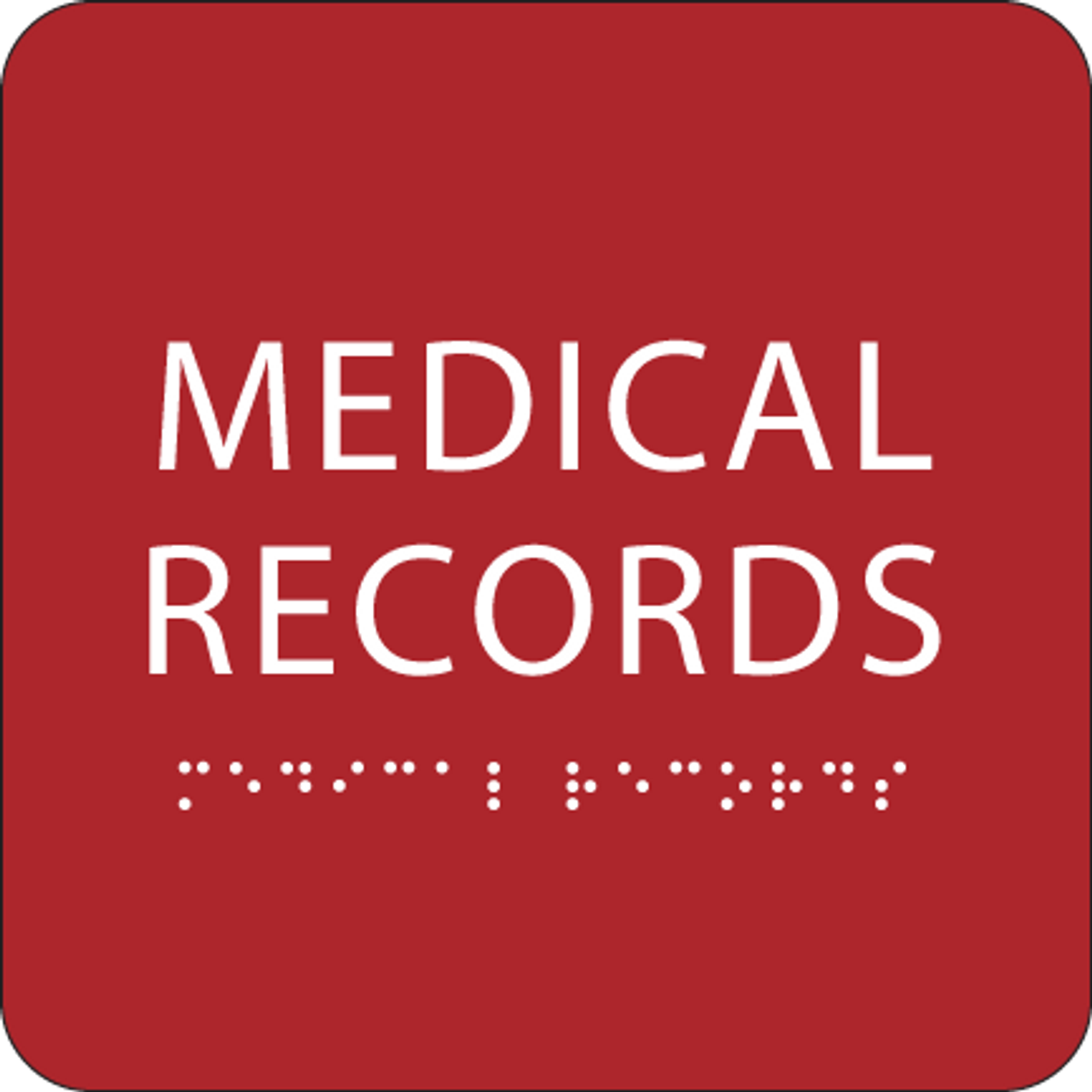 Red Medical Records ADA Sign