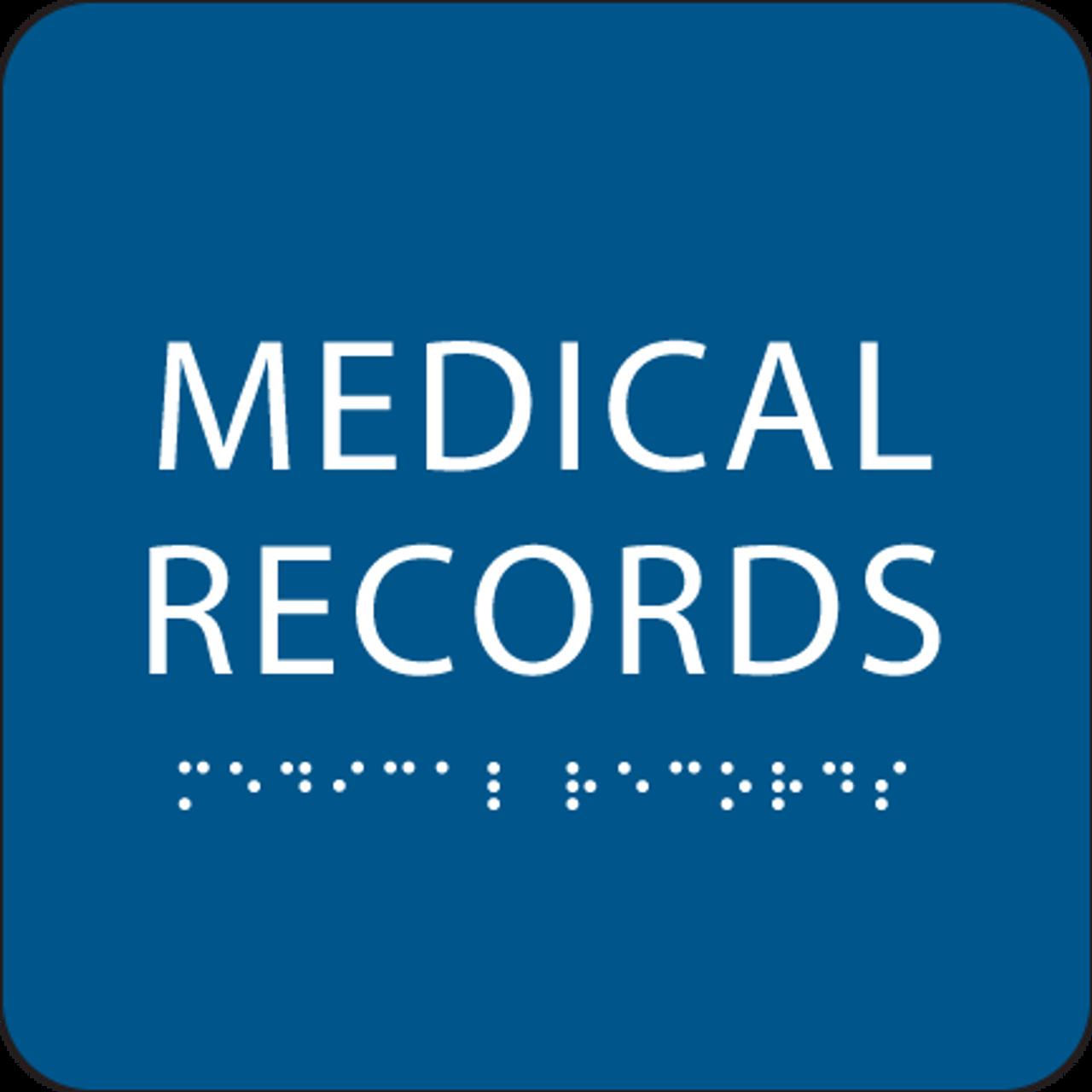 Blue Medical Records ADA Sign