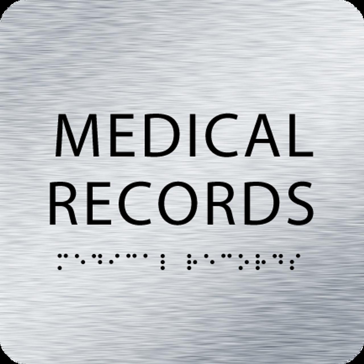 Aluminum Medical Records ADA Sign