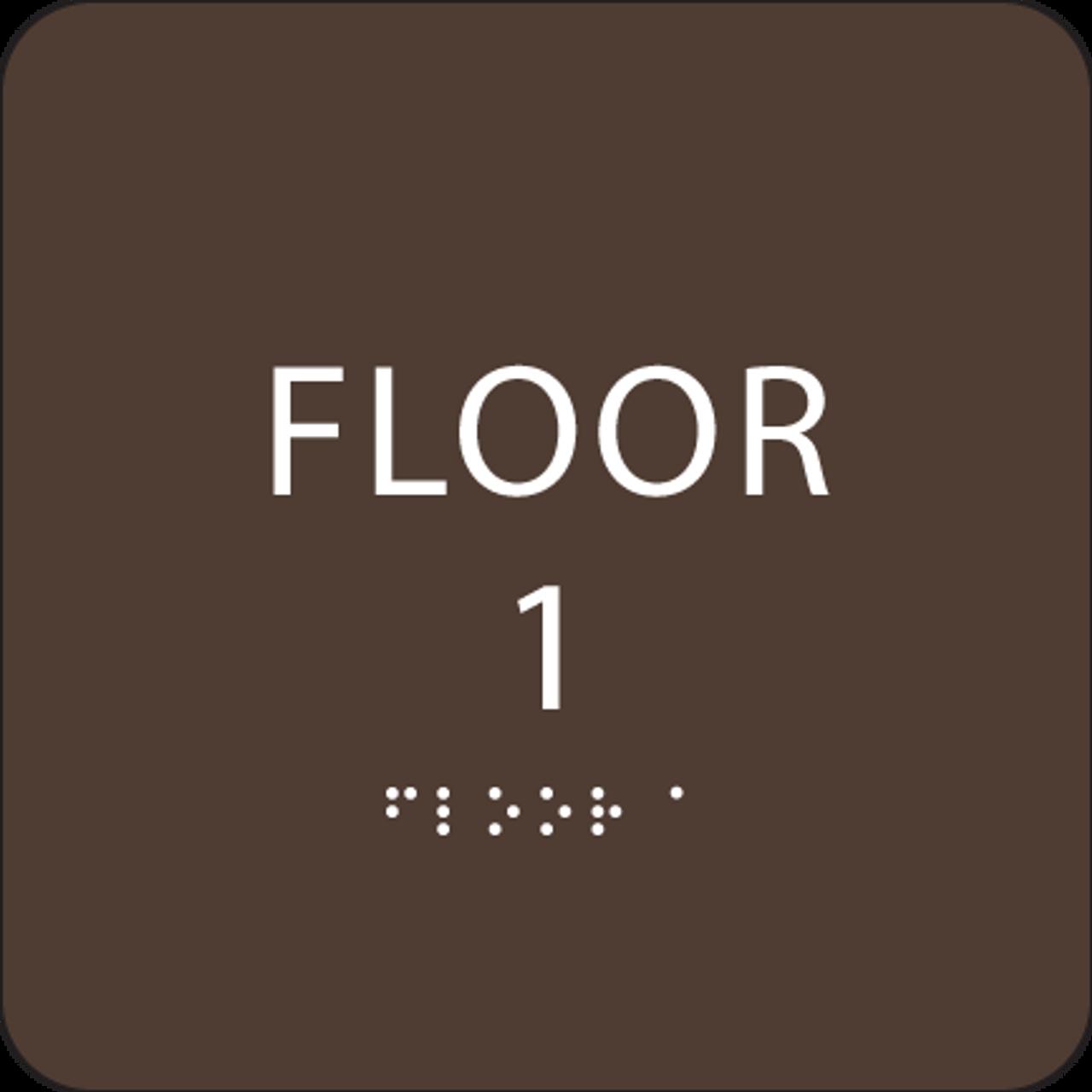 Dark Brown Floor 1 Identification Sign