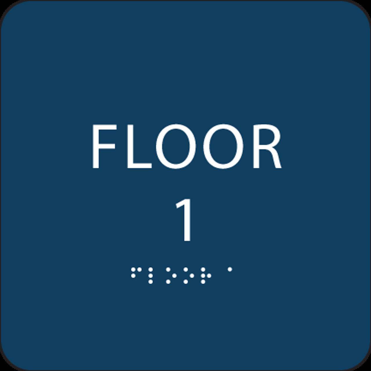 Dark Blue Floor 1 Identification Sign