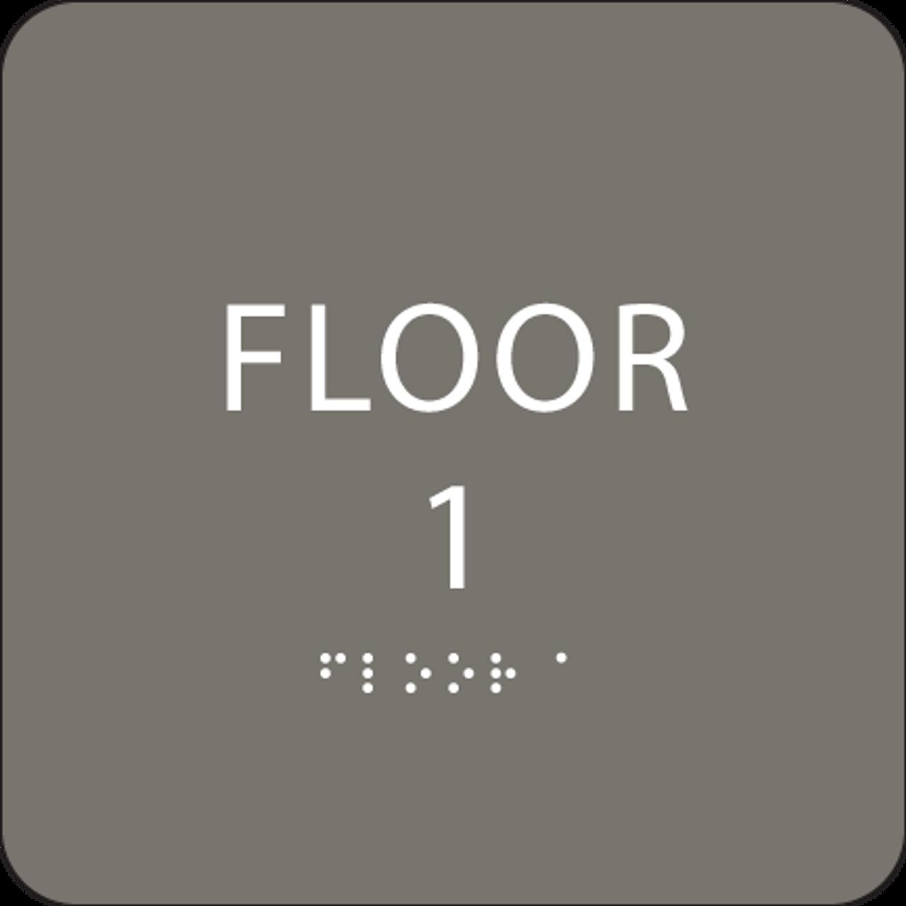 Dark Grey Floor 1 Identification Sign