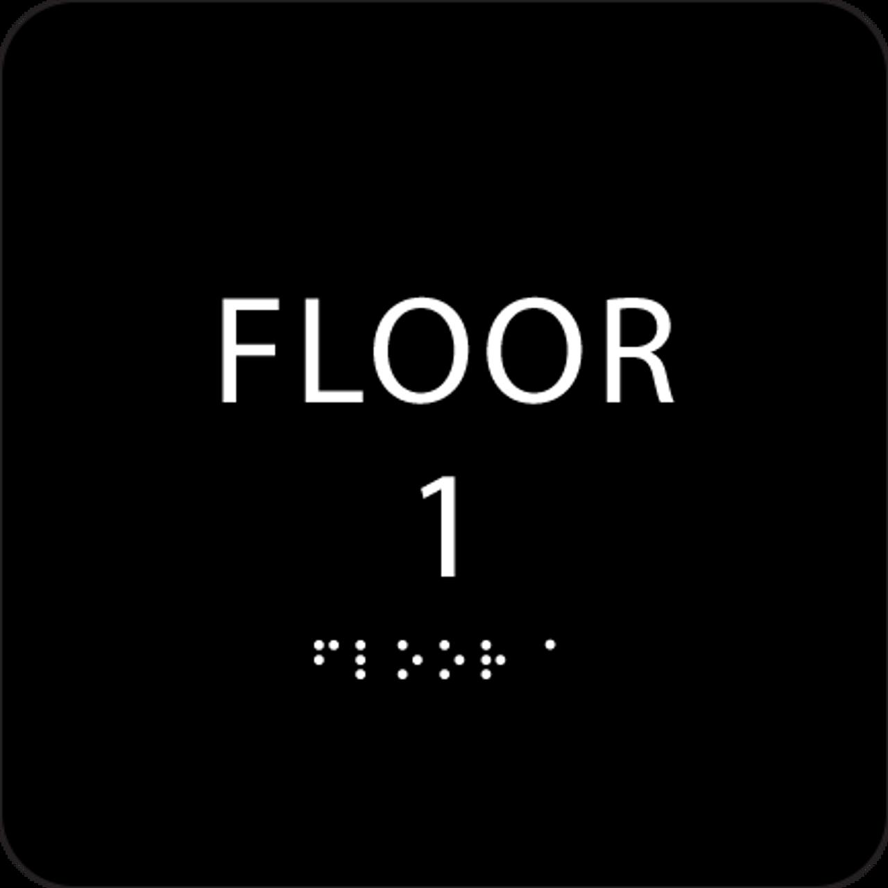 Black Floor 1 Identification Sign