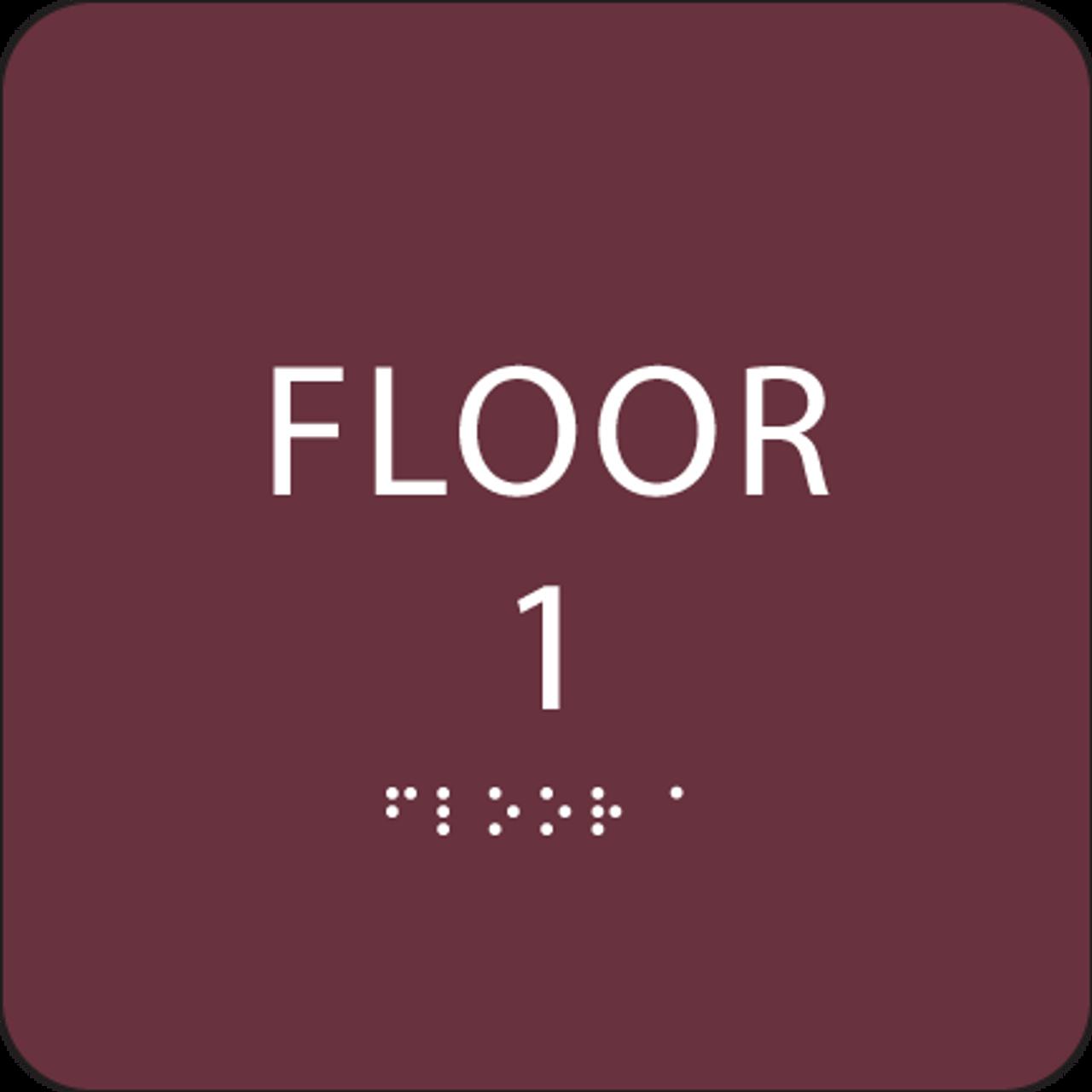 Burgundy Floor 1 Identification Sign