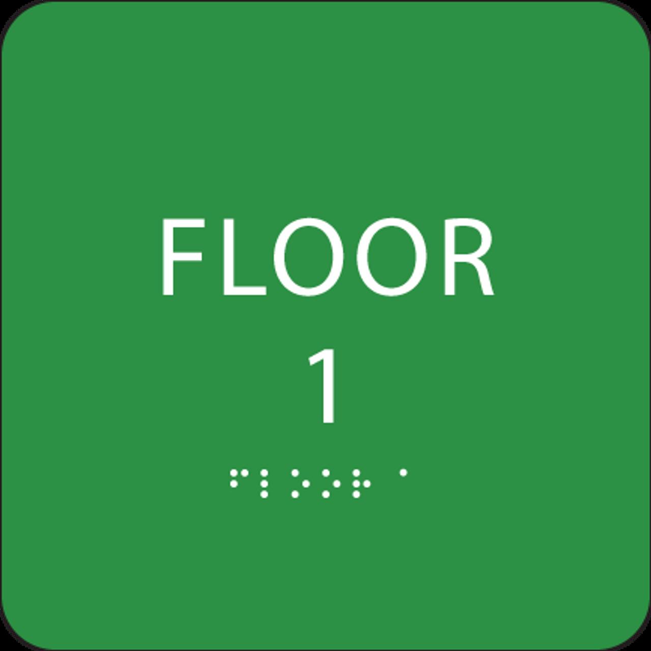 Green Floor 1 Number Sign