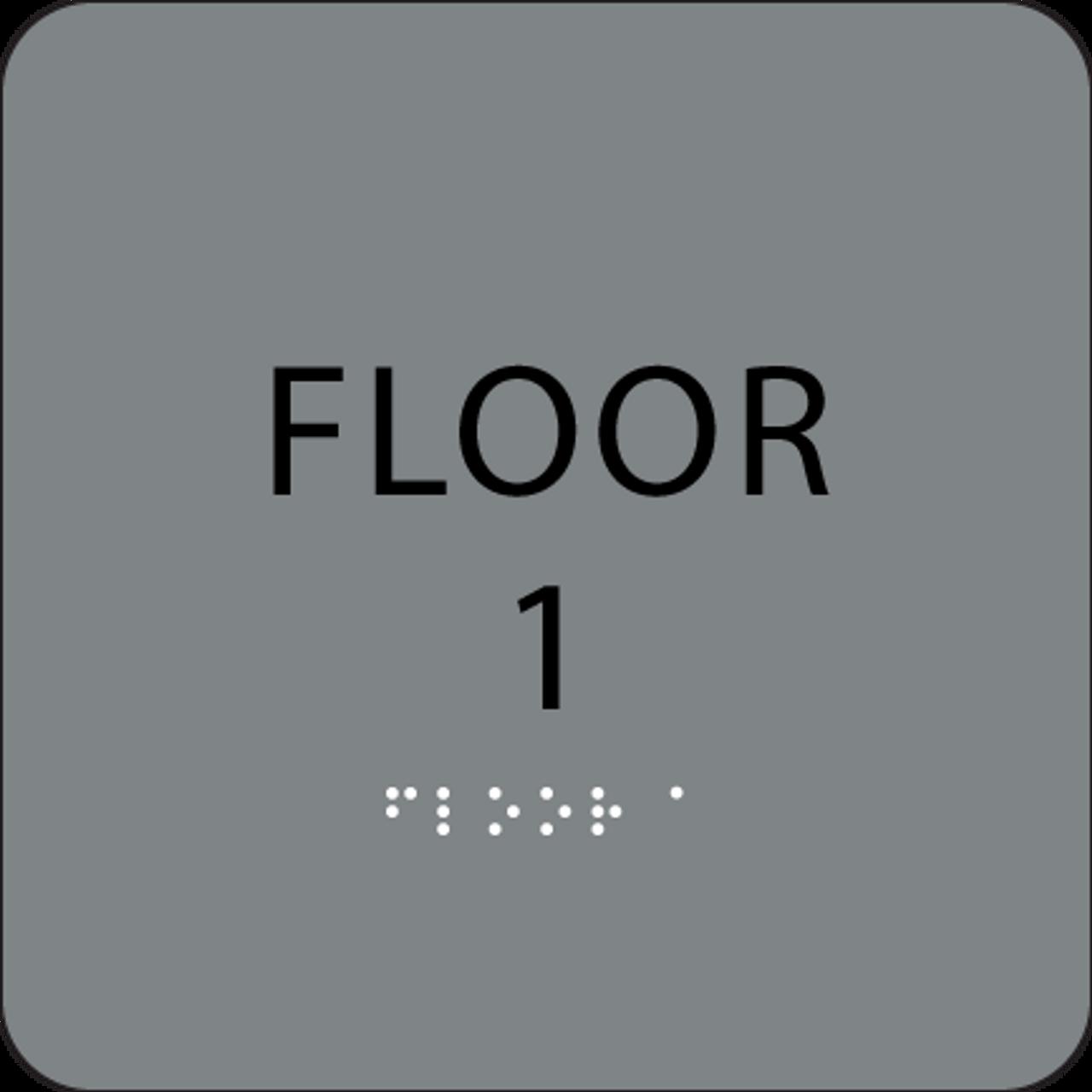 Grey Floor 1 Number Sign