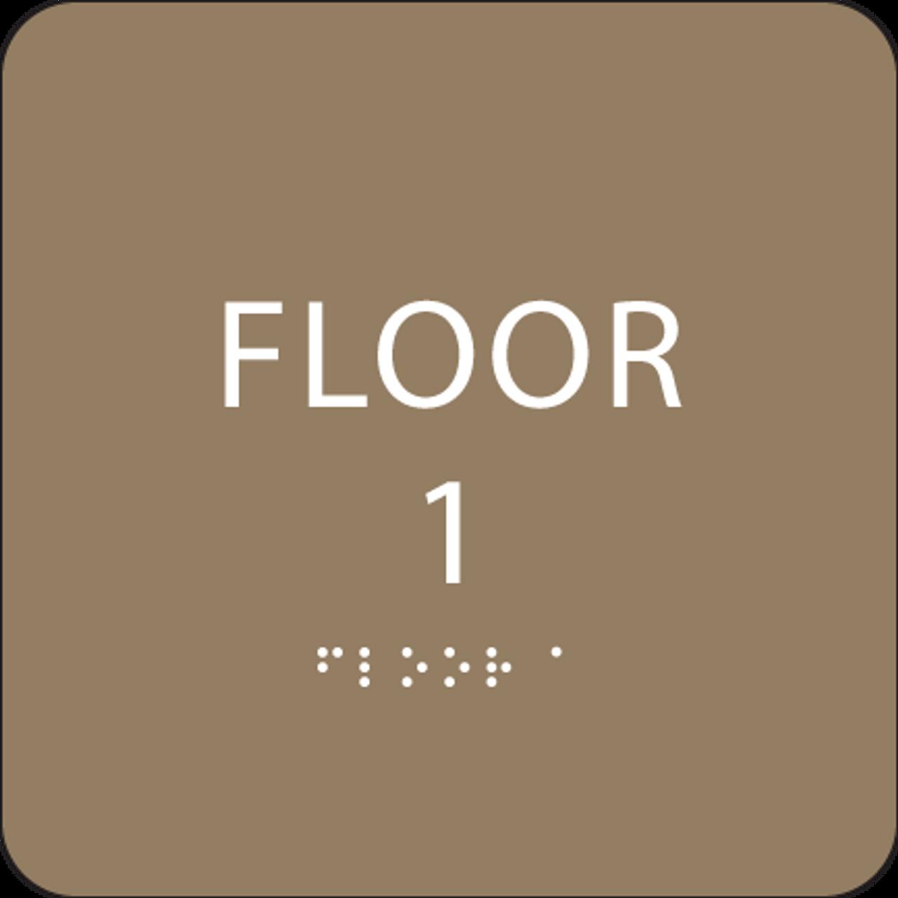 Brown Floor 1 Number Sign