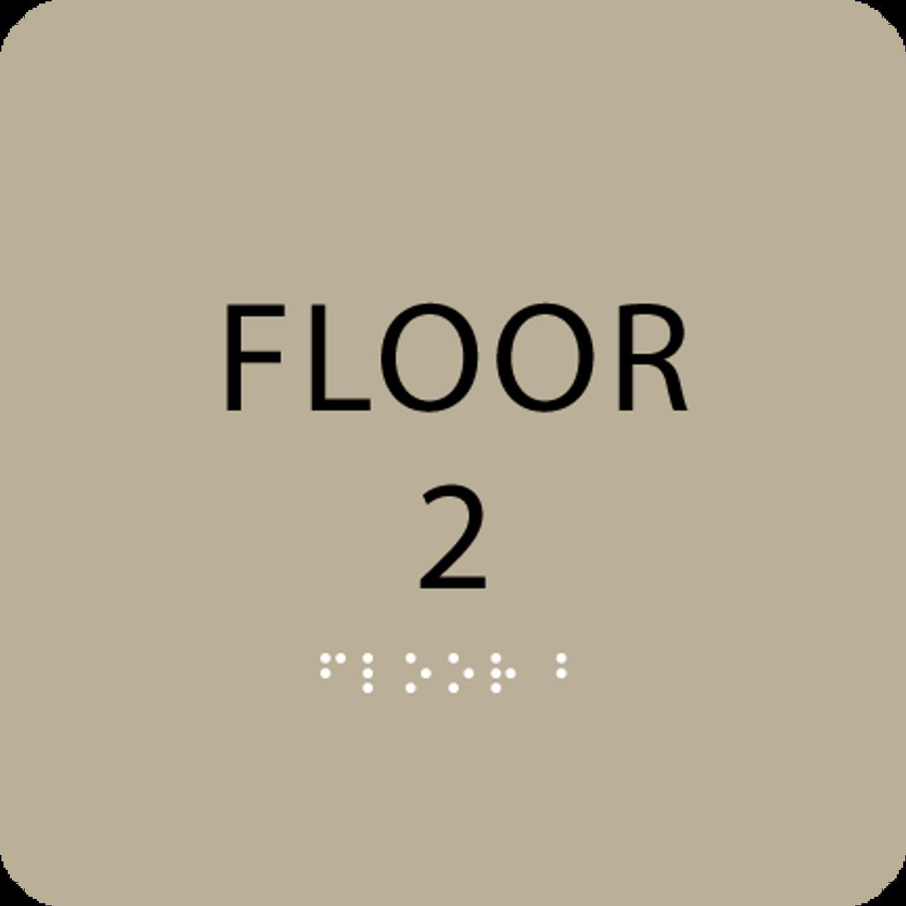 Brown Floor 2 Number Sign