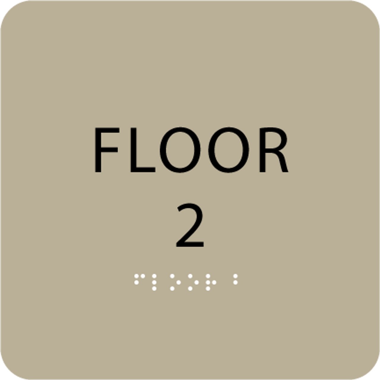 Brown Floor 2 Number Sign
