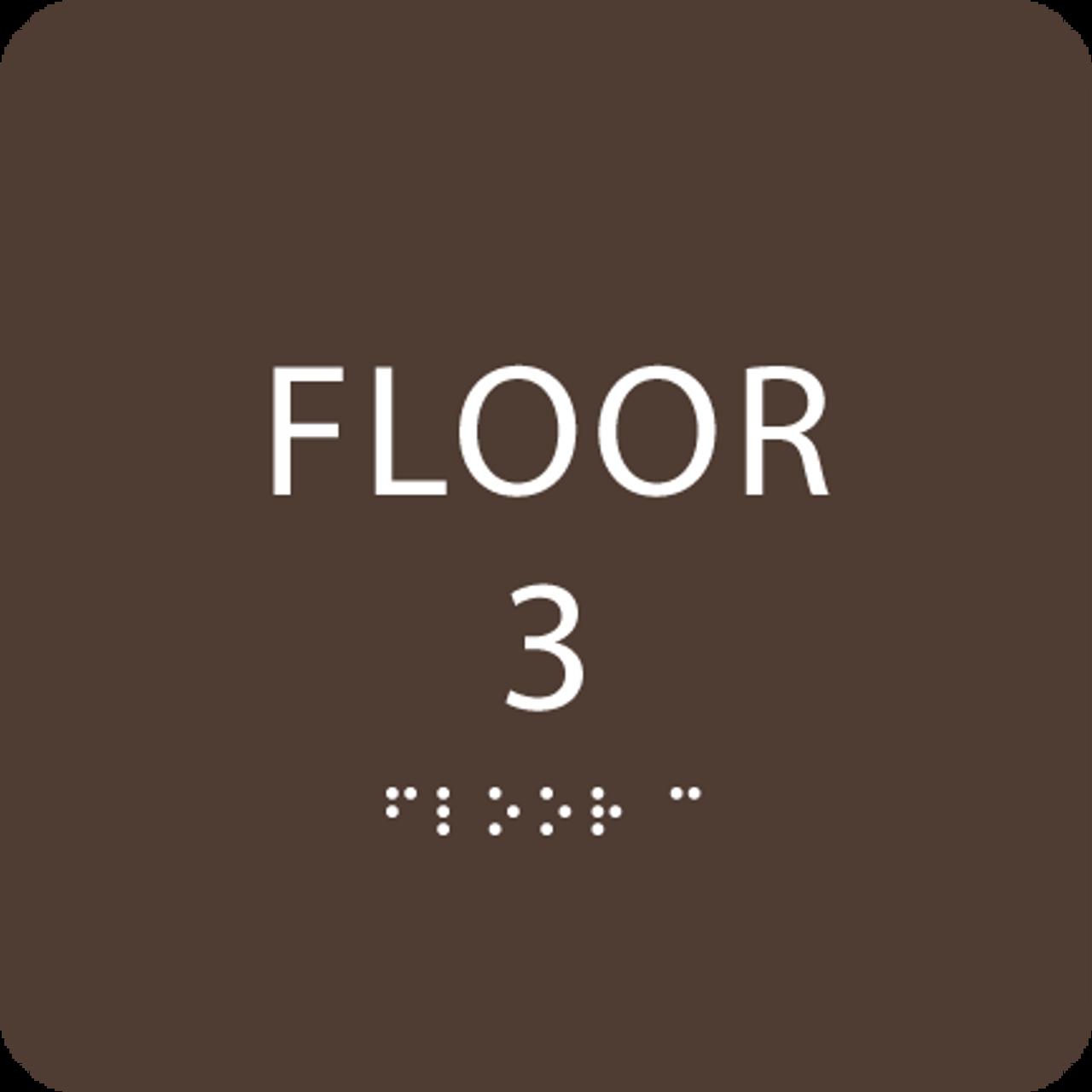 Dark Brown Floor 3 Identification Sign