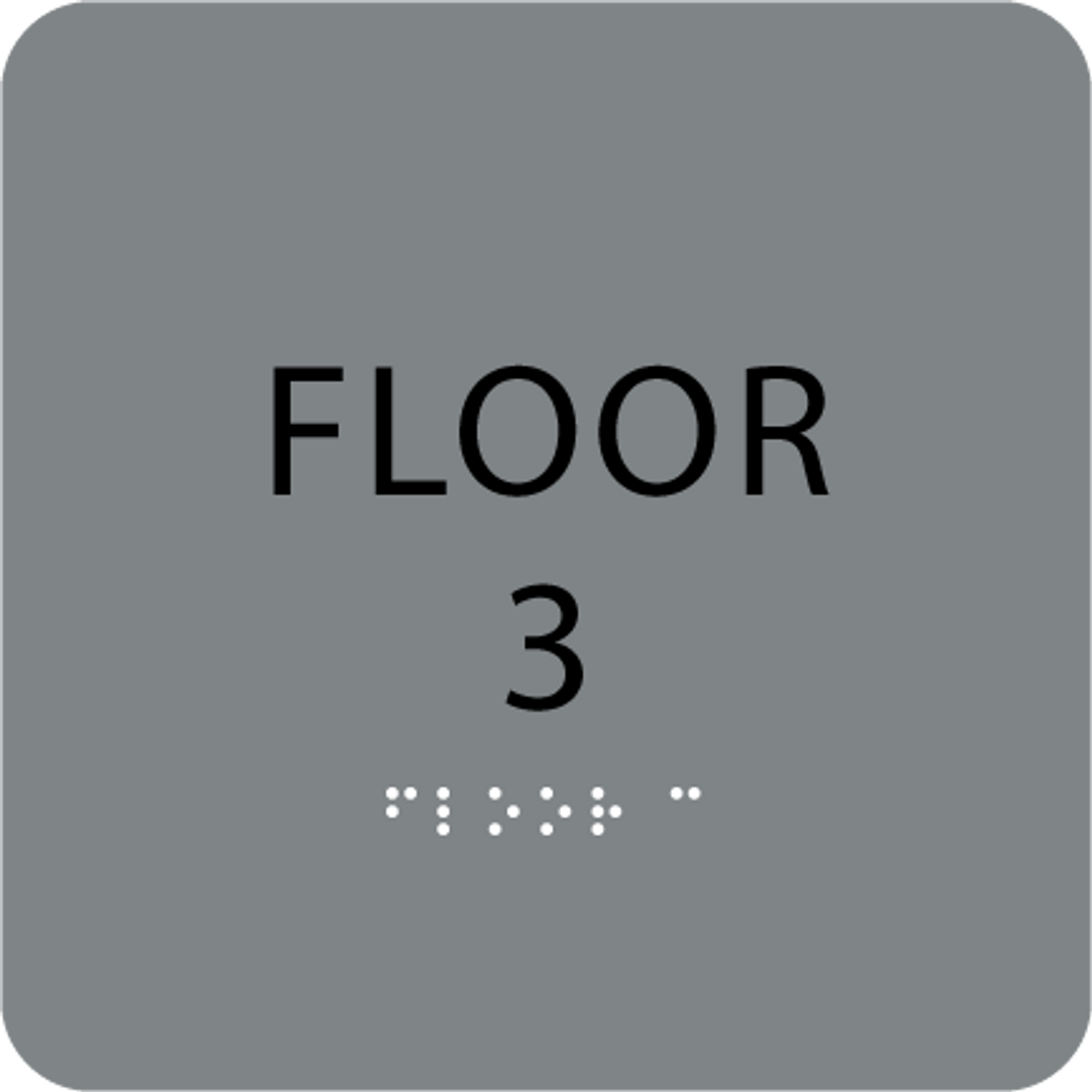 Grey Floor 3 Number Sign