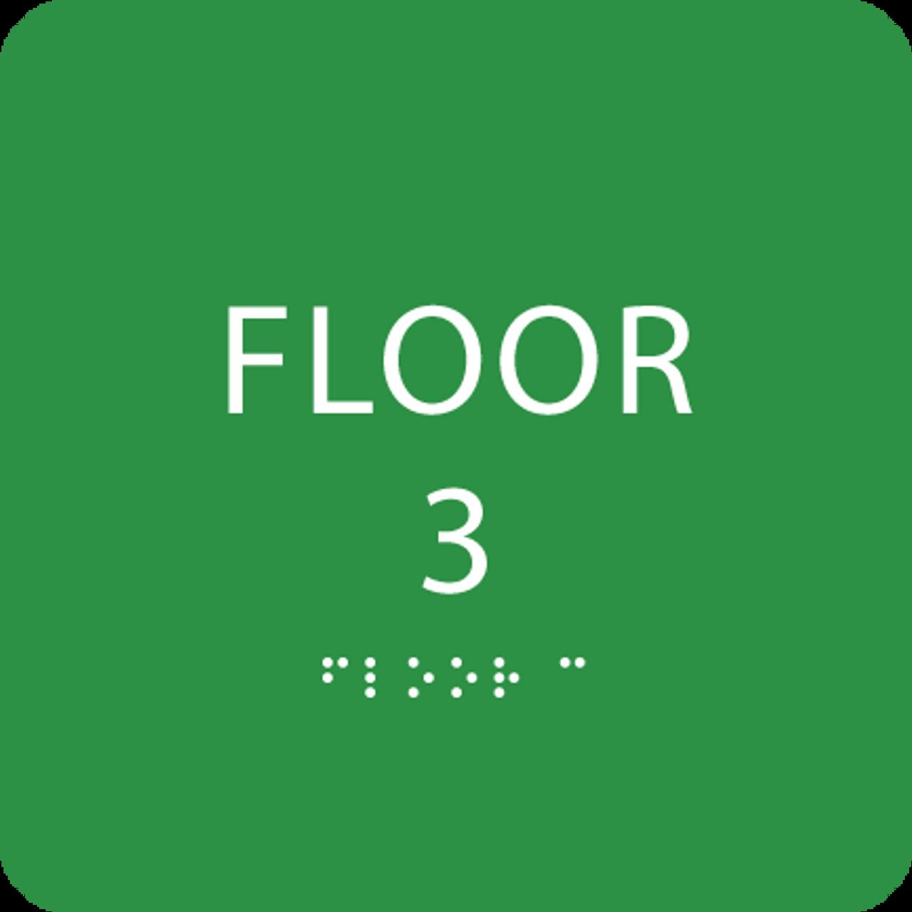 Green Floor 3 Identification Sign
