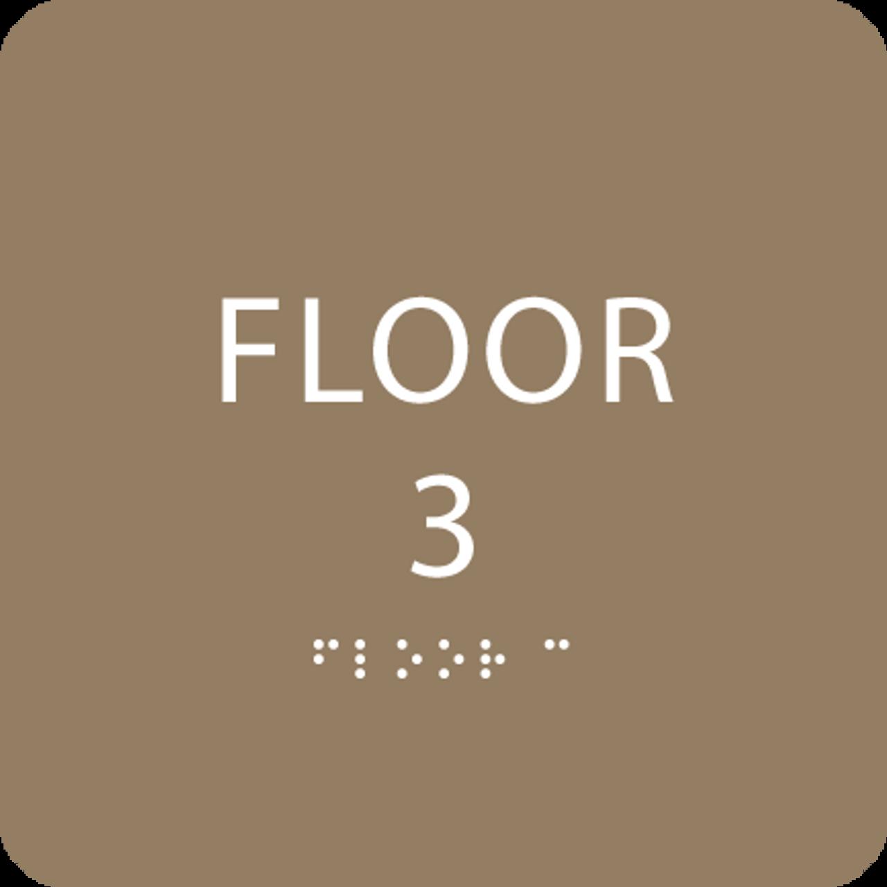 Brown Floor 3 Identification Sign