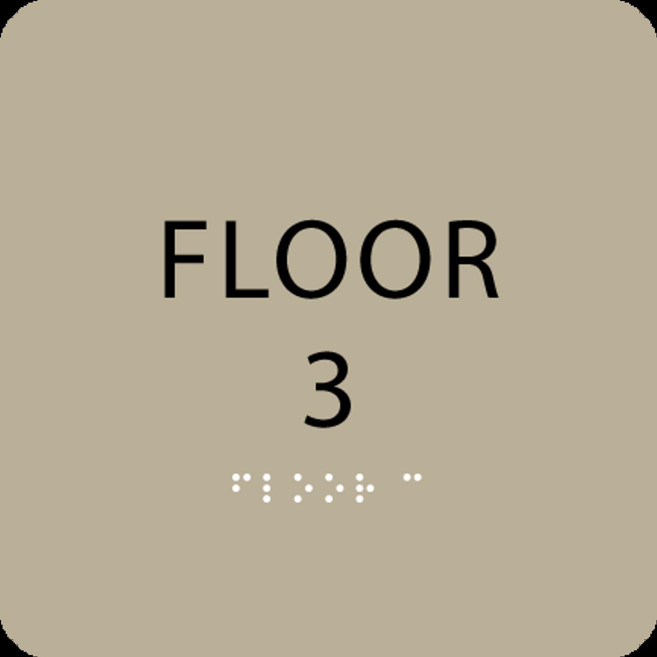Brown Floor 3 Number Sign