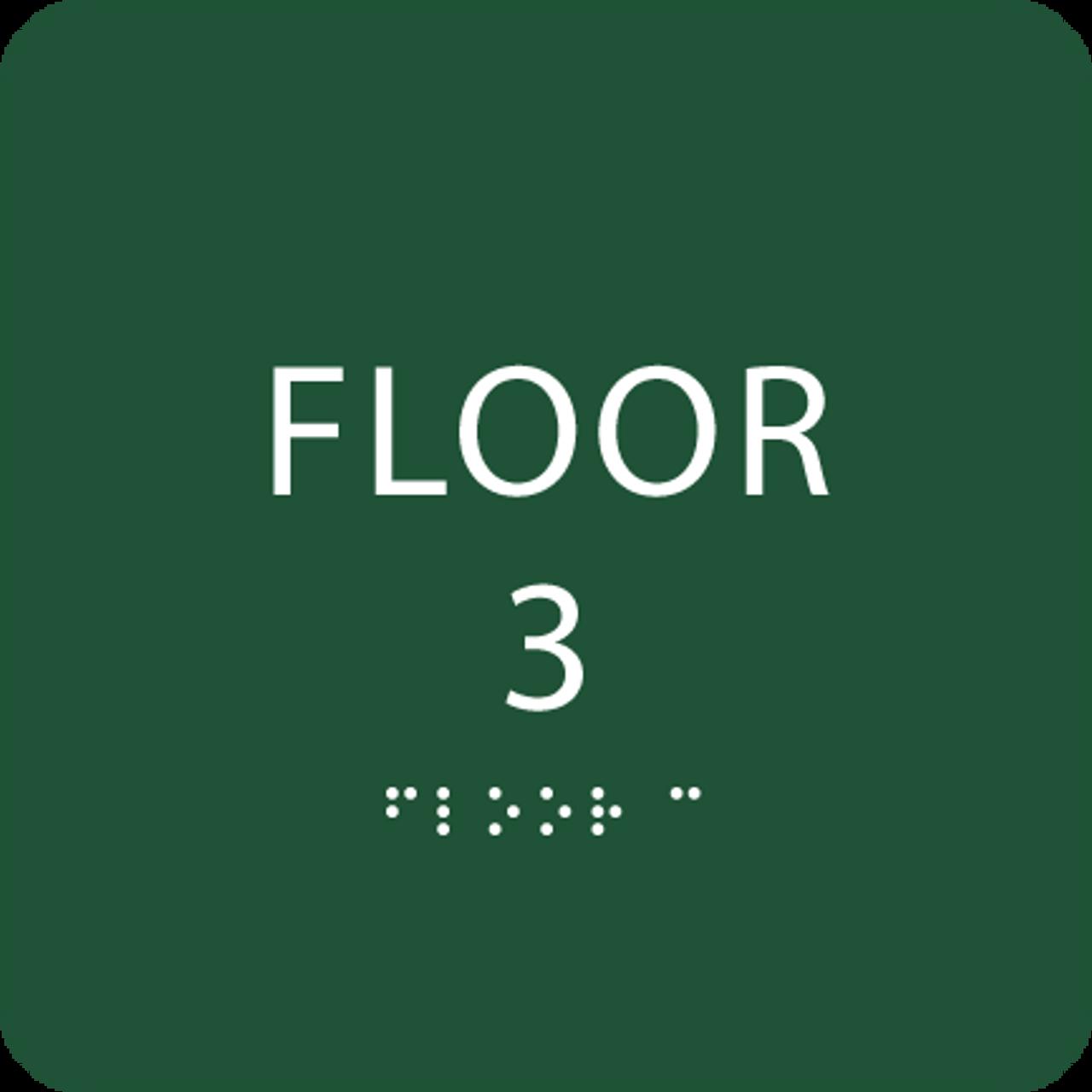 Green Floor 3 Number Sign