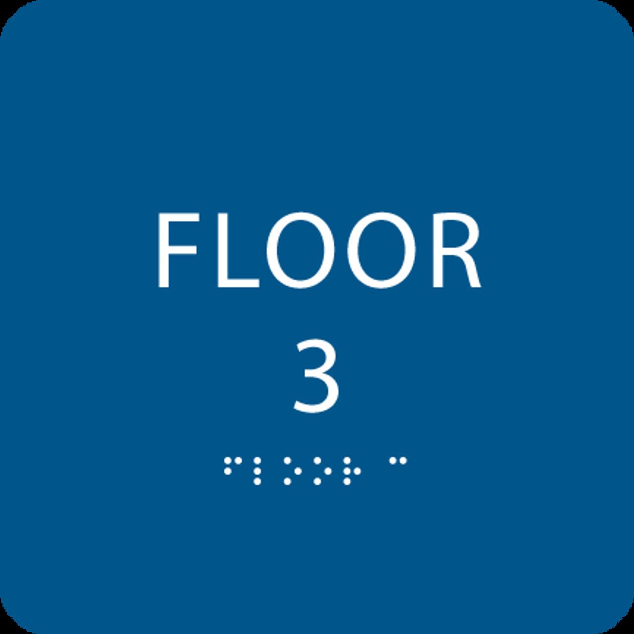 Royal Blue Floor 3 Identification Sign