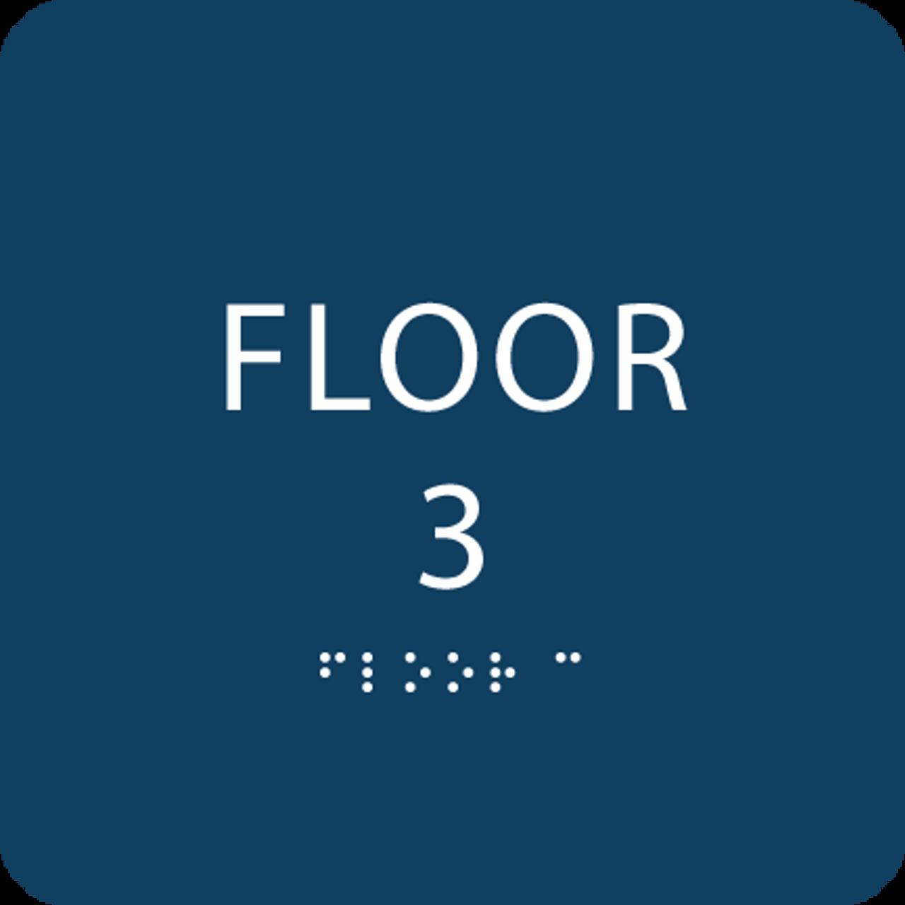 Dark Blue Floor 3 Identification Sign