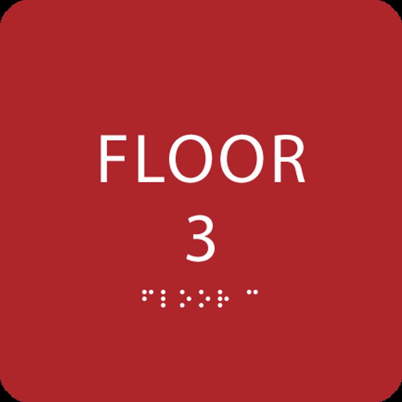 Red Floor 3 Identification Sign