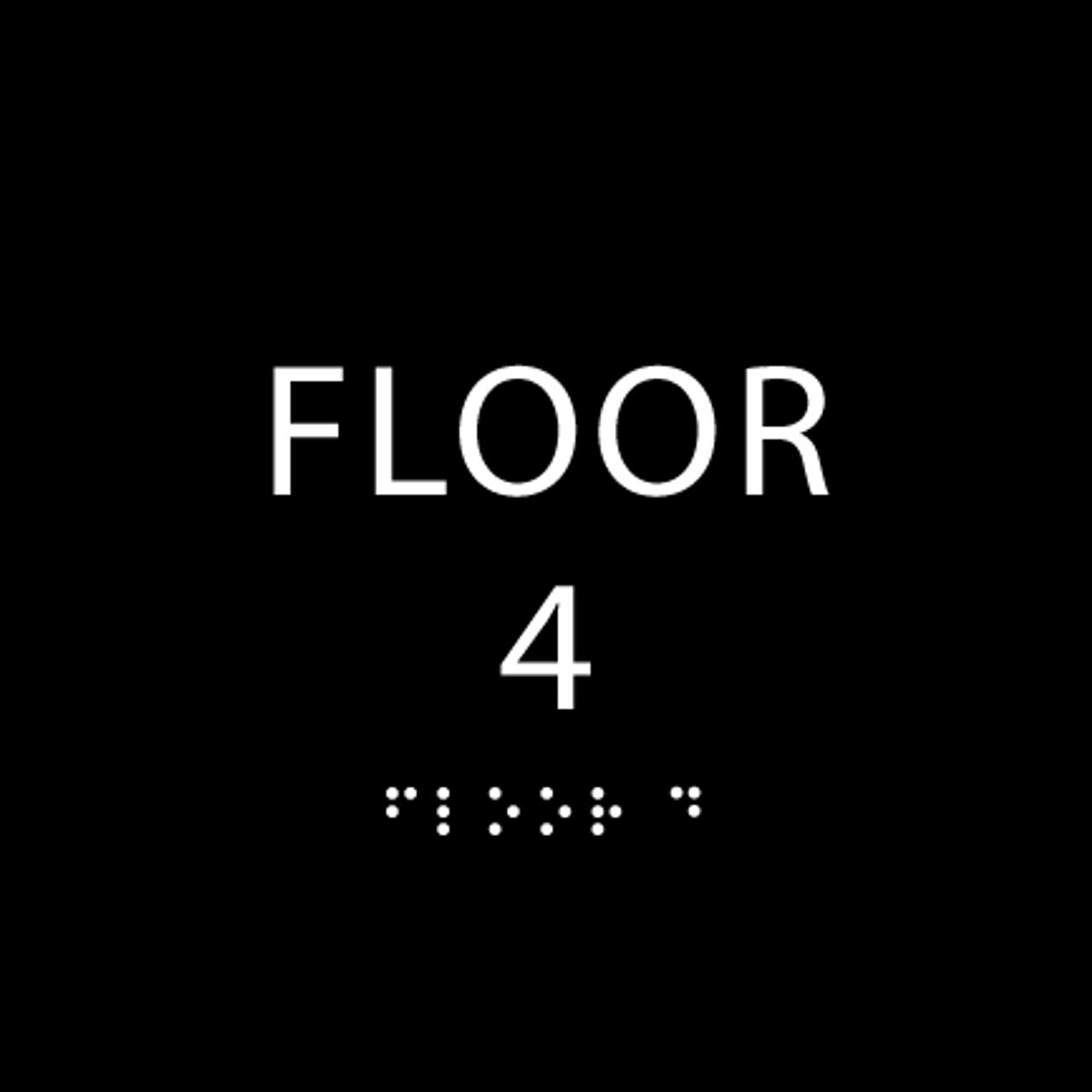 Black Floor 4 Identification Sign