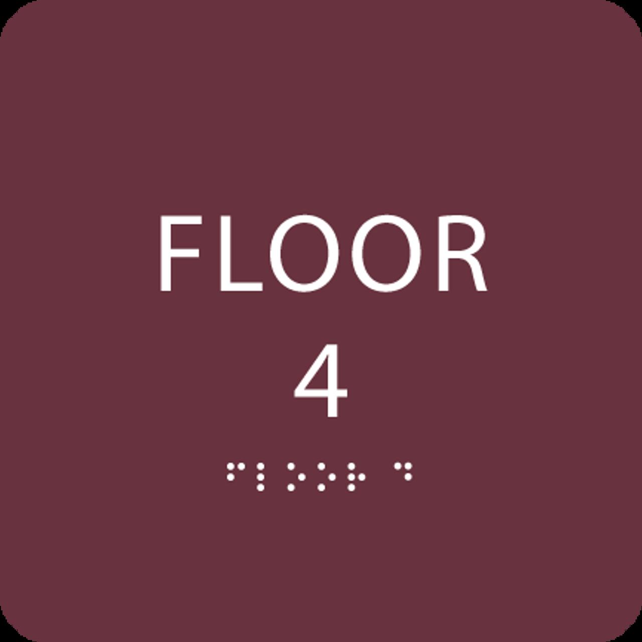 Burgundy Floor 4 Identification Sign