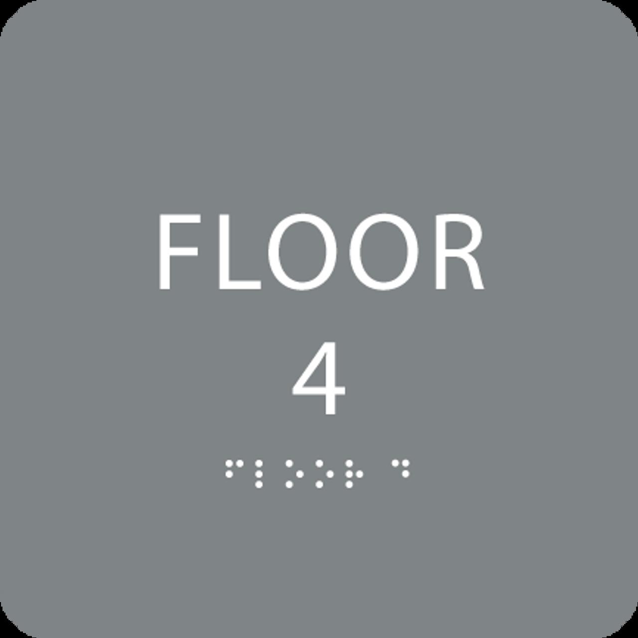 Grey Floor 4 Identification Sign