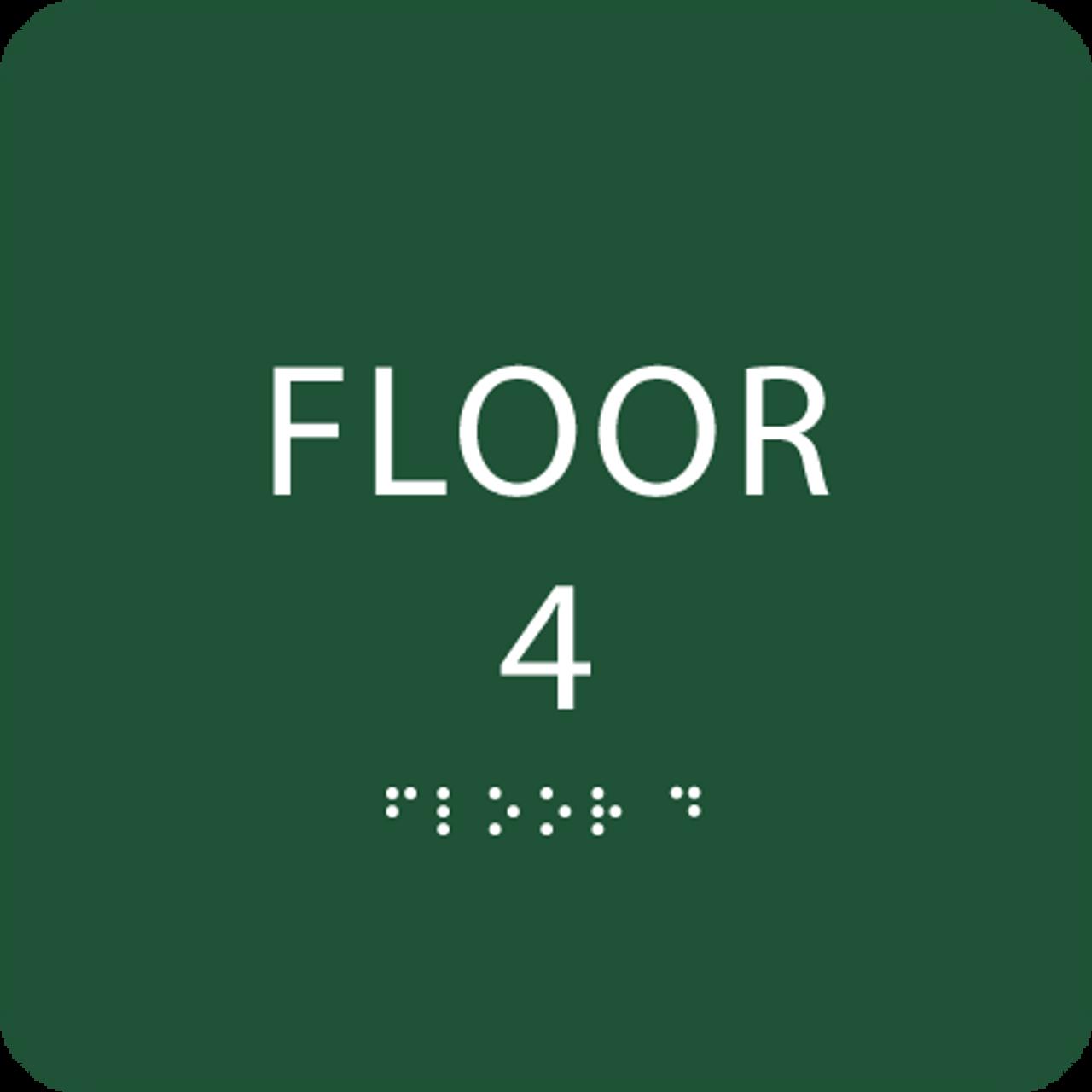 Green Floor 4 Identification Sign