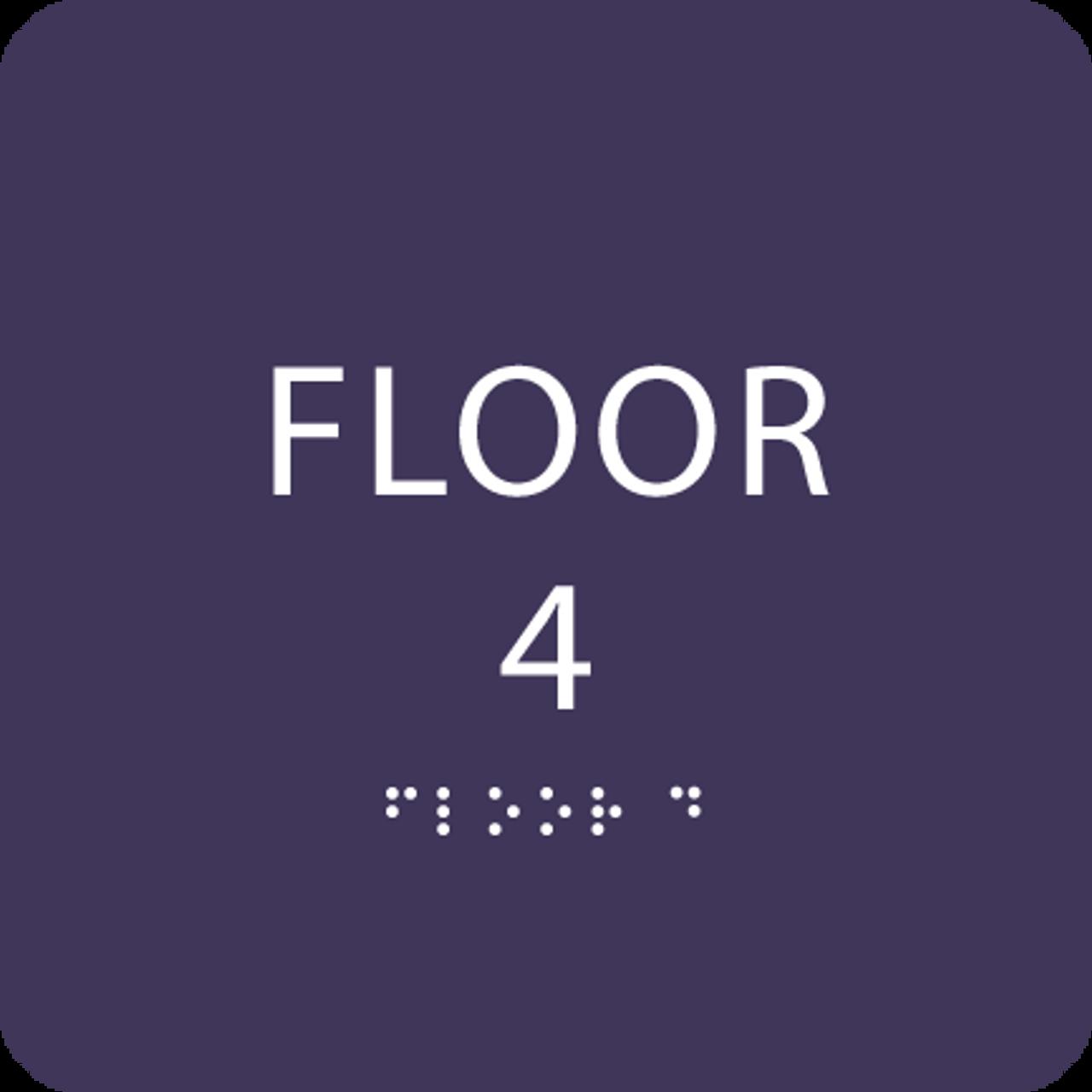 Purple Floor 4 Identification Sign