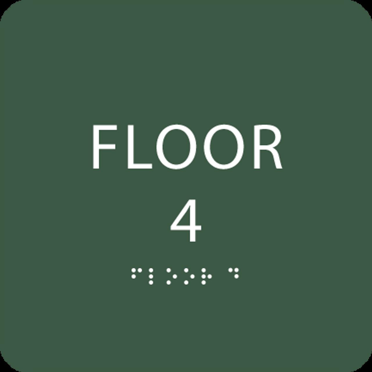 Green Floor 4 Number Sign