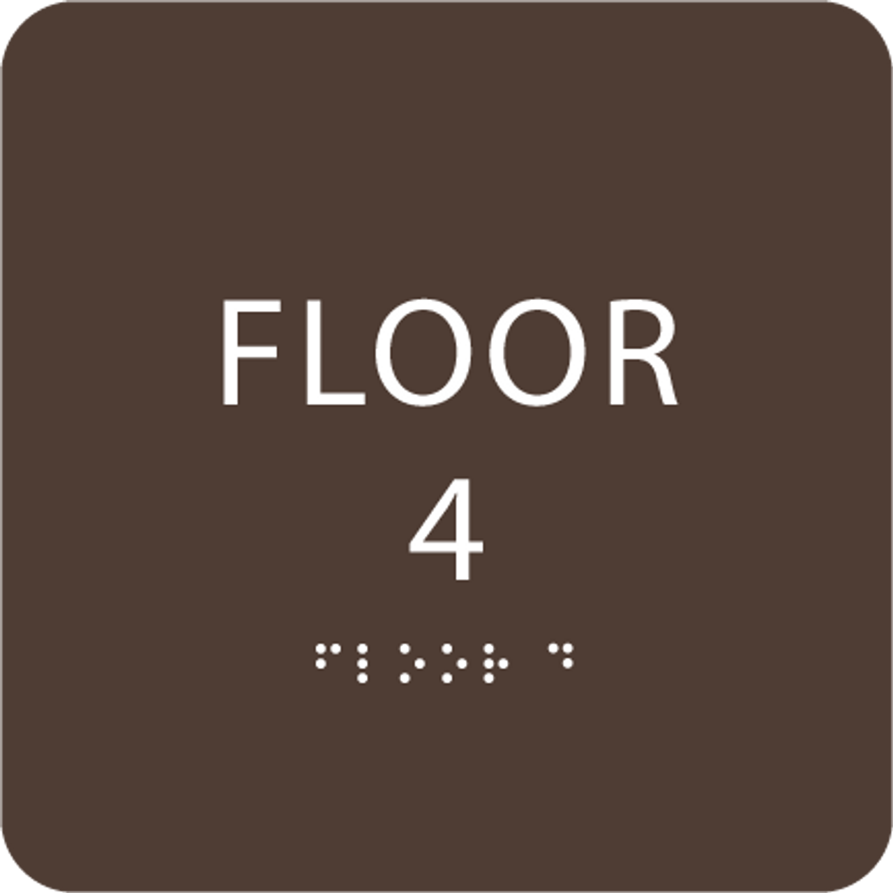 Dark Brown Floor 4 Identification Sign