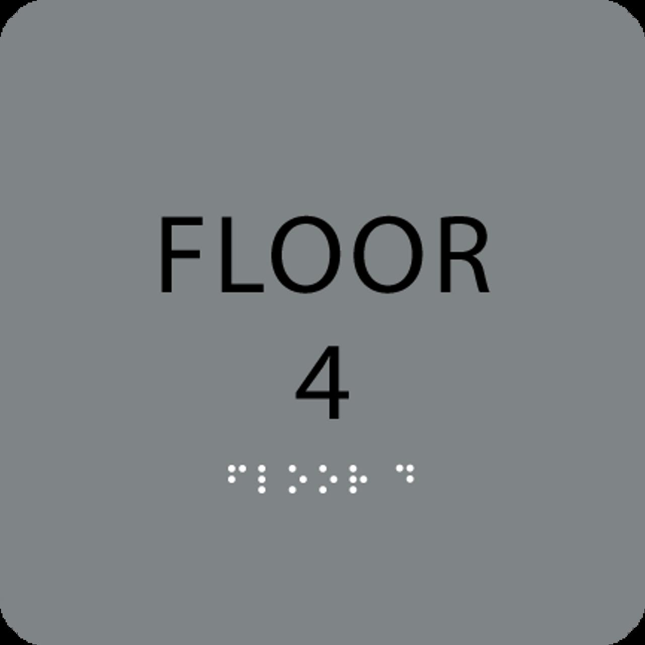 Grey Floor 4 Number Sign
