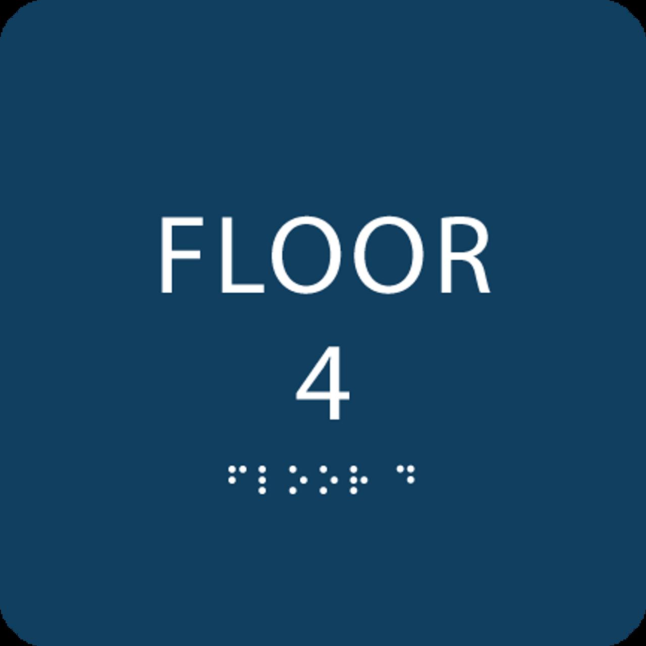 Dark Blue Floor 4 Identification Sign