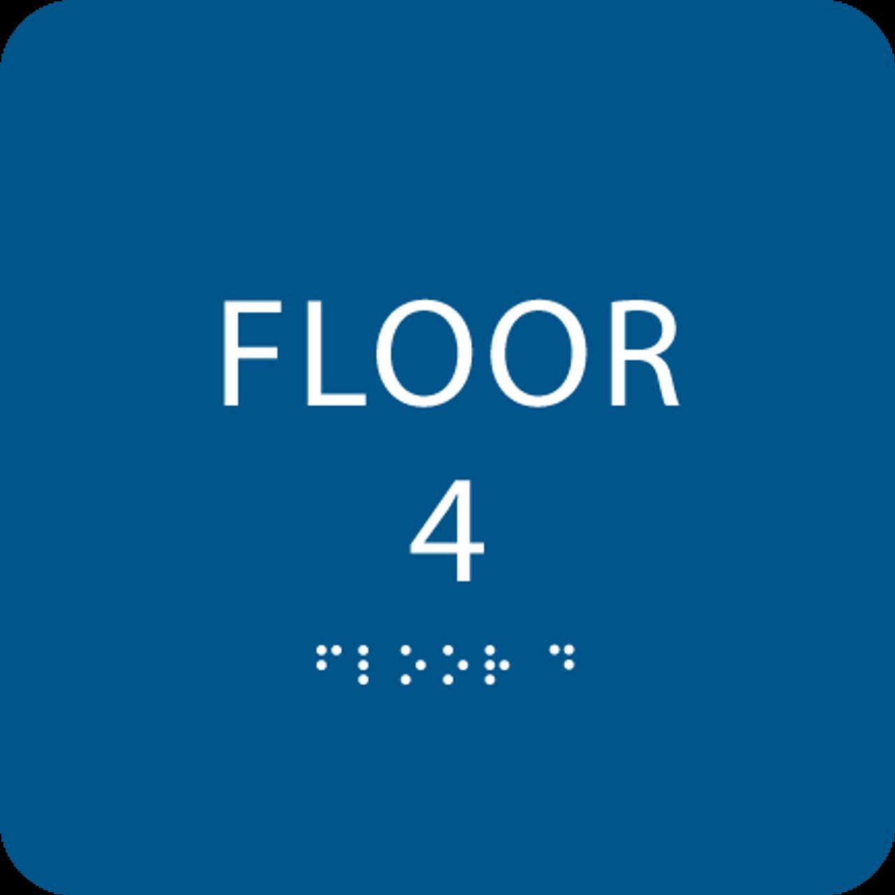 Blue Floor 4 Identification Sign