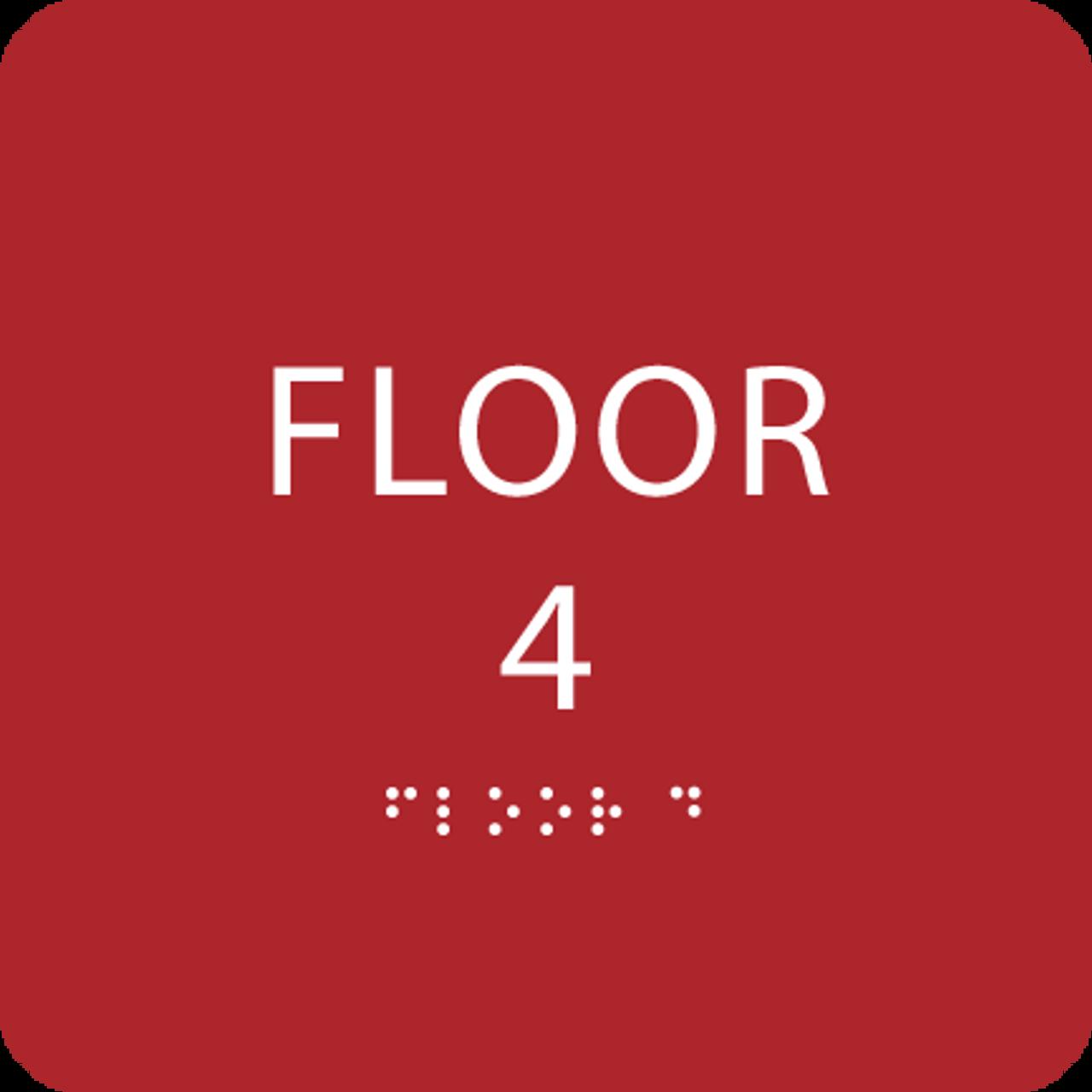 Red Floor 4 Identification Sign