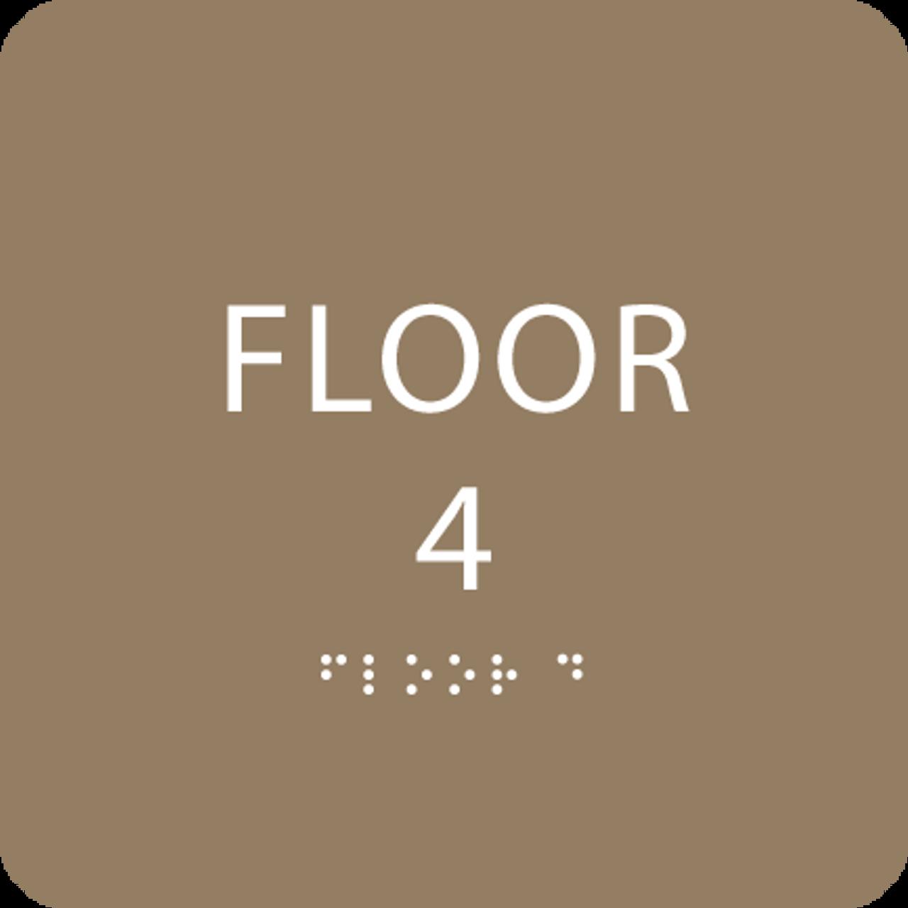 Brown Floor 4 Number Sign