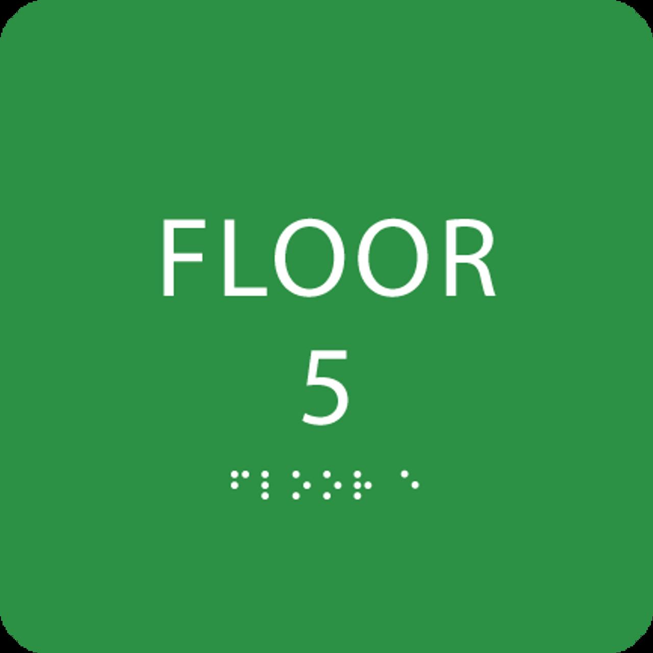 Green Floor 5 Level Identification Sign